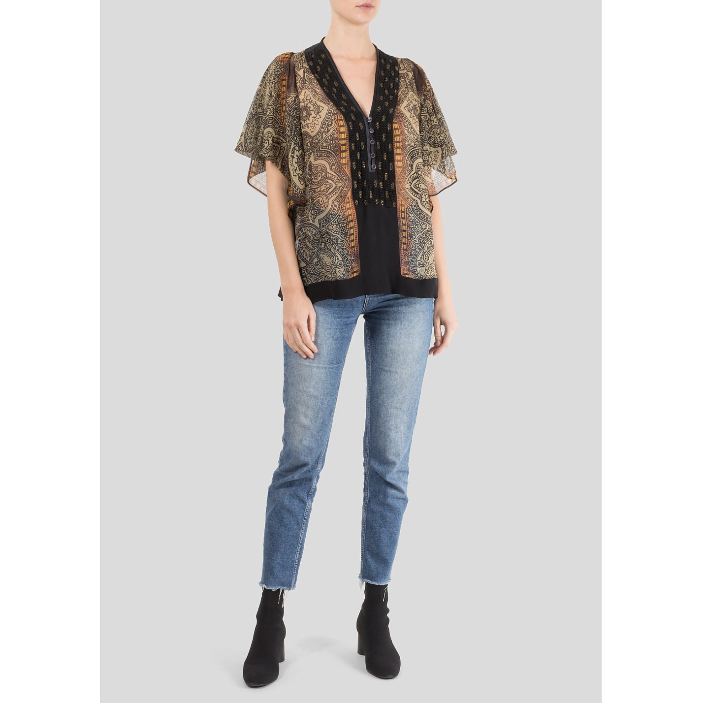 ETRO Hand Embroidered Silk Blouse