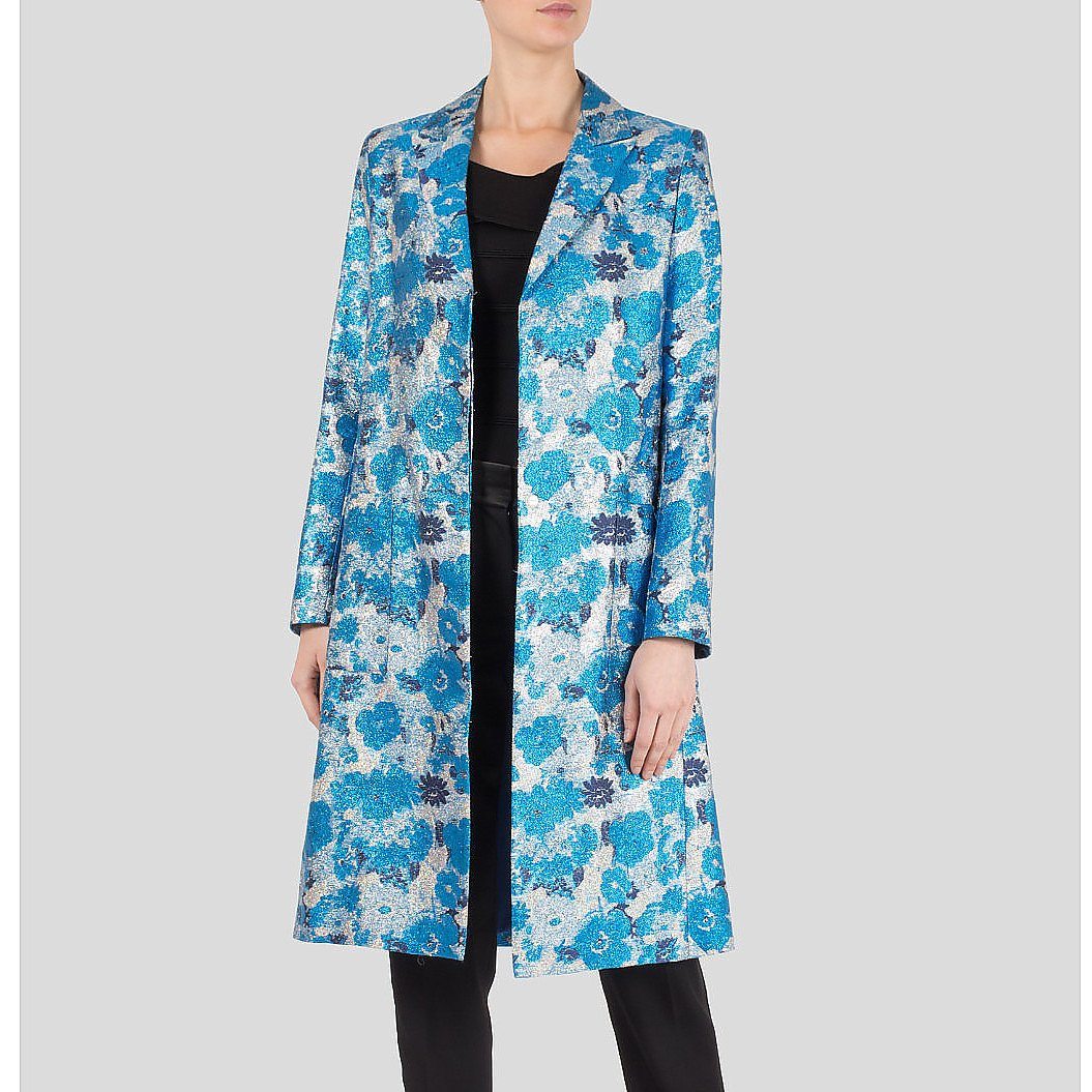 Christopher Kane Metallic Floral Brocade Coat