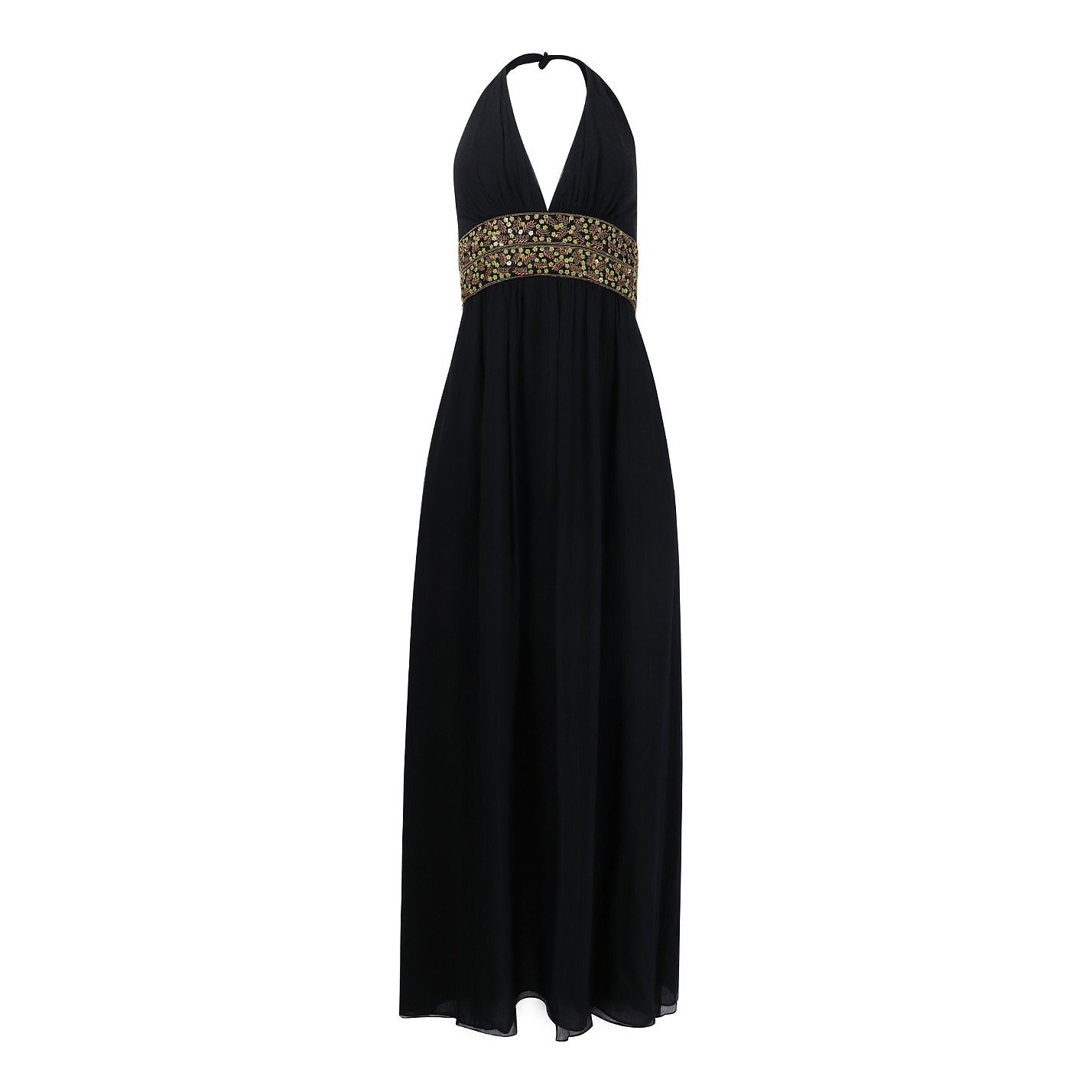 Kay Unger Embroidered Silk Gown