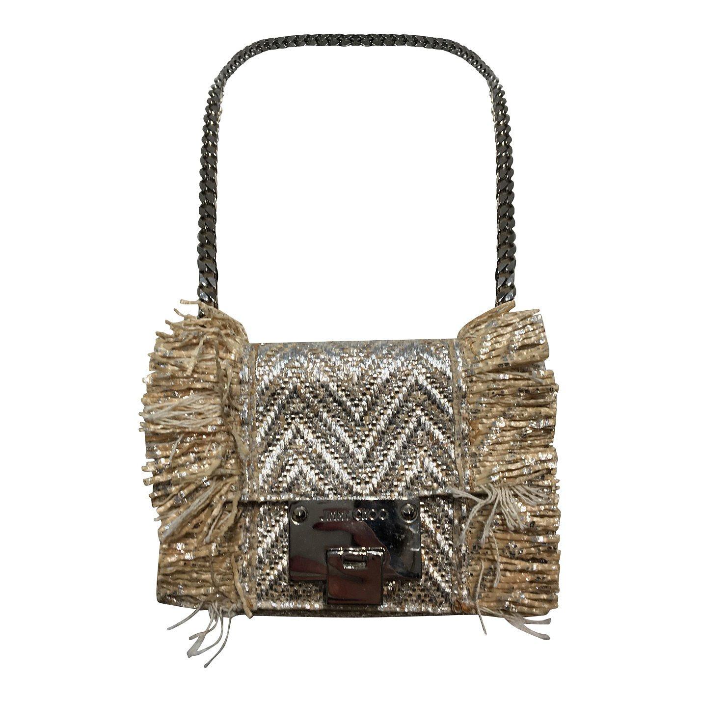 Jimmy Choo Metallic Straw-Trimmed Bag