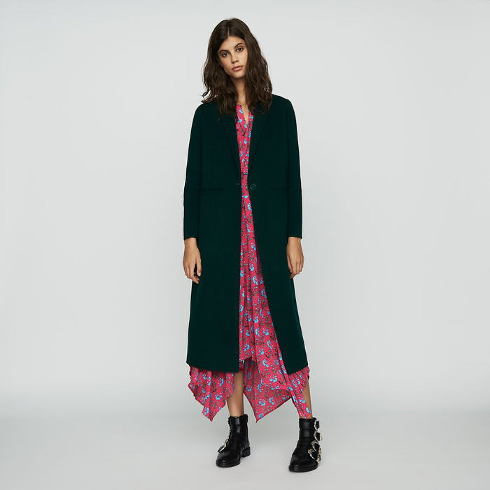 Maje Long Double Face Wool-Blend Coat