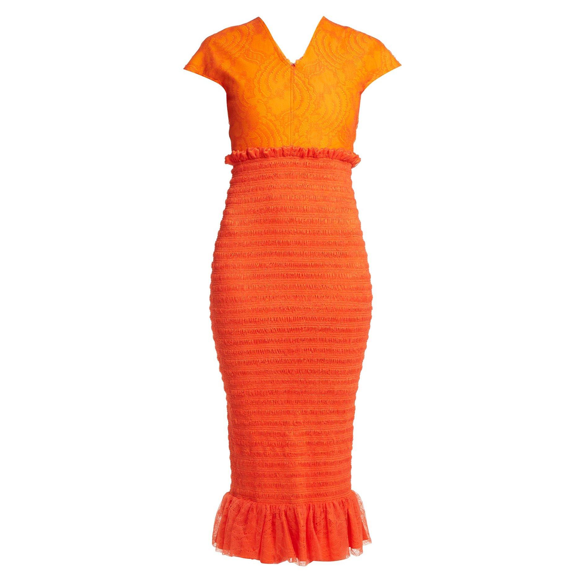 Emilio De La Morena Tamara Shirring & Lace Dress