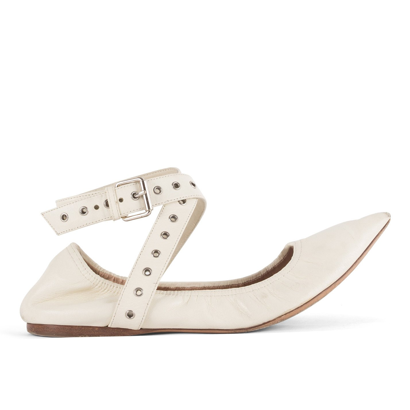 Valentino Pointed Flats With Ankle Straps