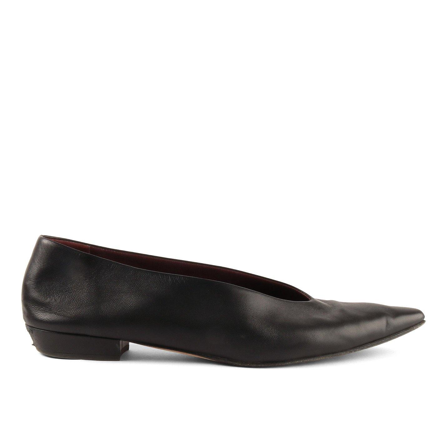 Bottega Veneta High-Vamp Leather Flats
