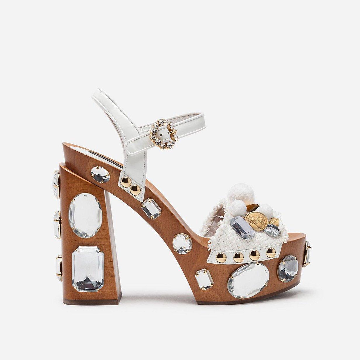 DOLCE & GABBANA Embellishment Raffia Platform Sandals