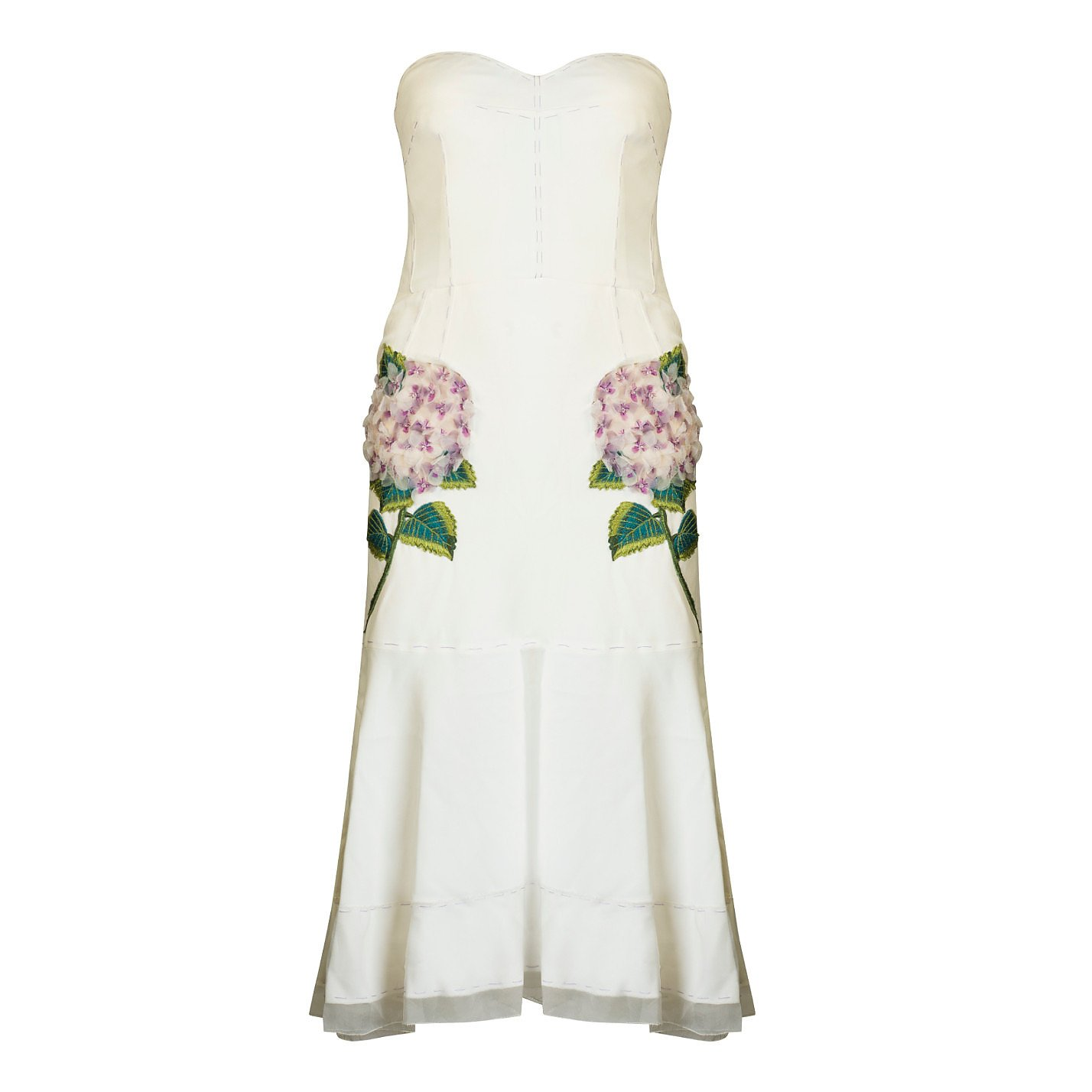 DOLCE & GABBANA Strapless Hydrangea Midi Dress