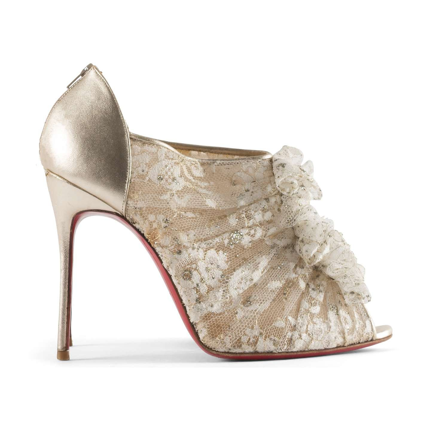 Christian Louboutin Lace and Leather Booties