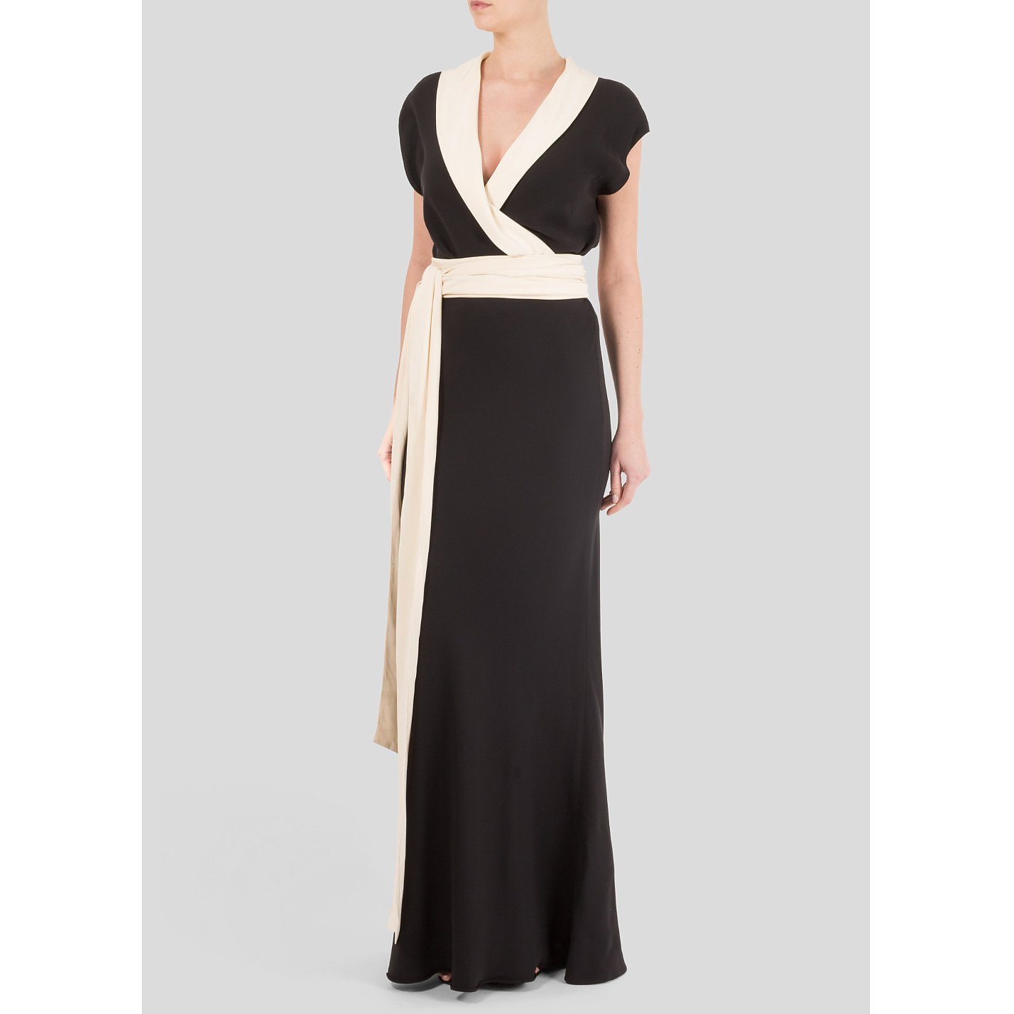 Ralph Lauren Wrap-Effect Monochrome Gown
