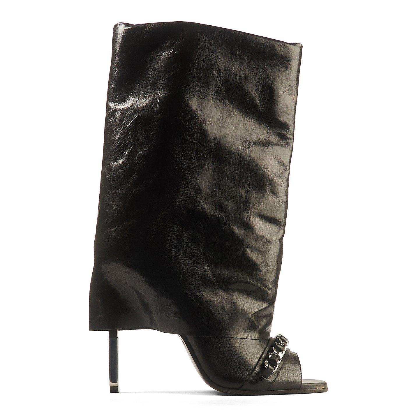 Balmain Leather Open Toe Boots