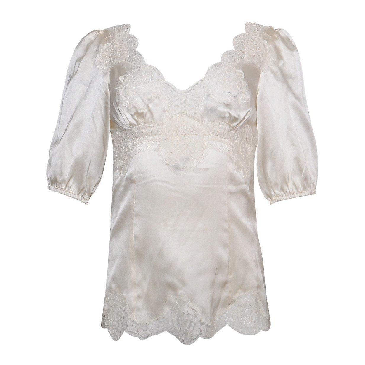 PRADA Lace-Trimmed Silk Blouse