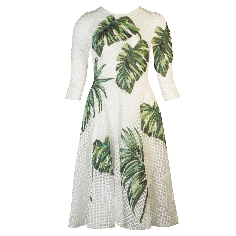 DOLCE & GABBANA Banana Leaf-Embellished Mesh Dress