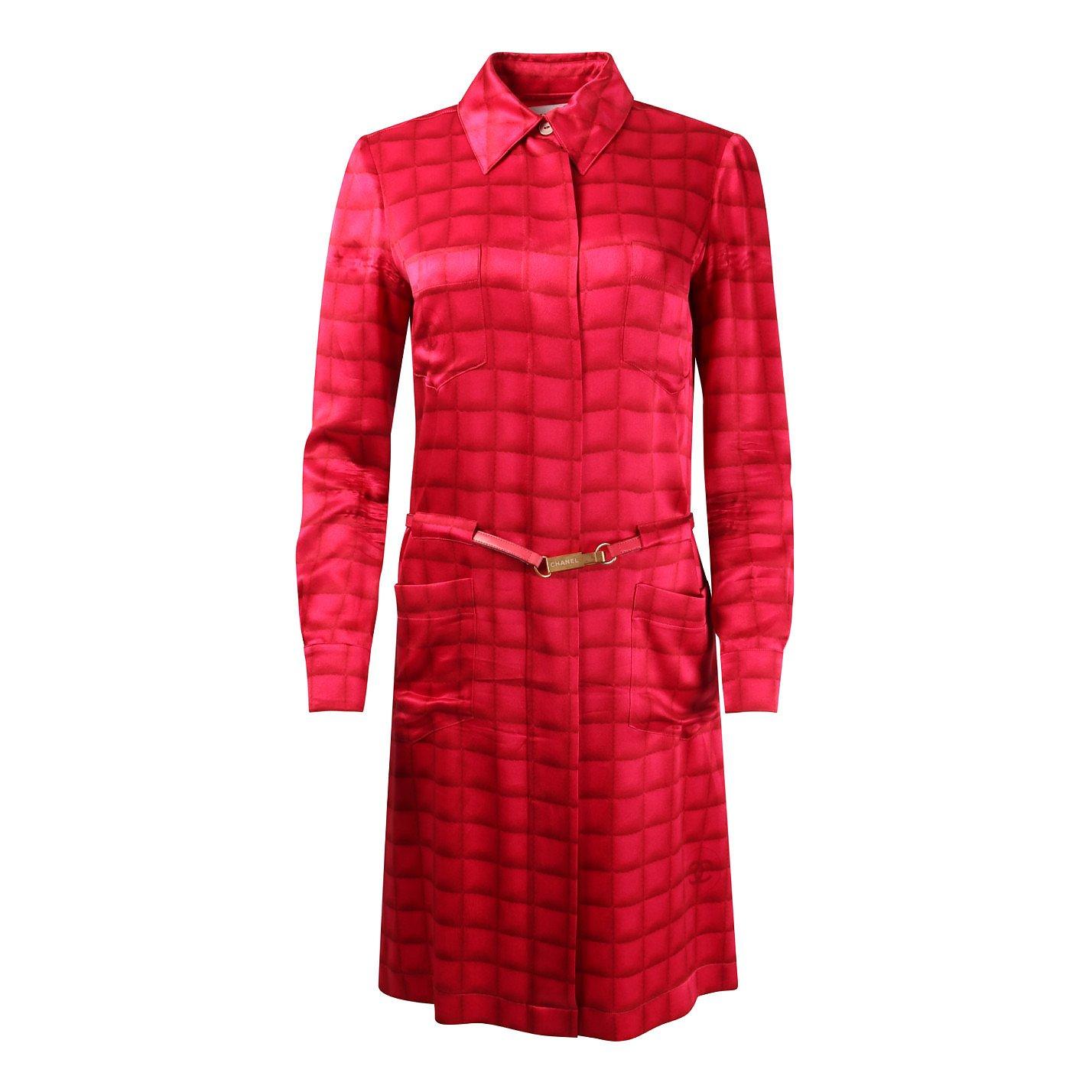 CHANEL Printed Silk Shirt Dress