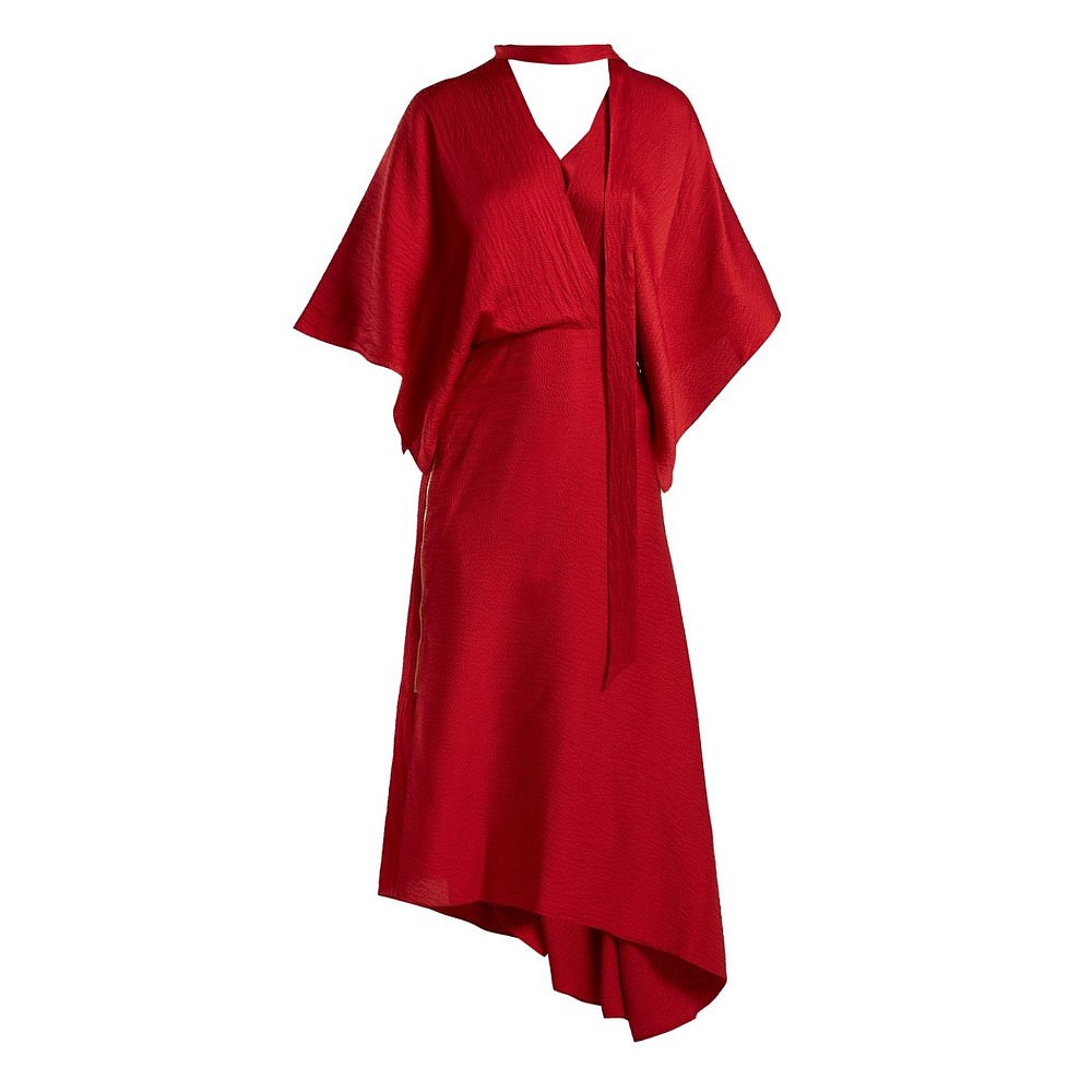 Roland Mouret Meyers Asymmetrical Silk-Satin Midi Dress