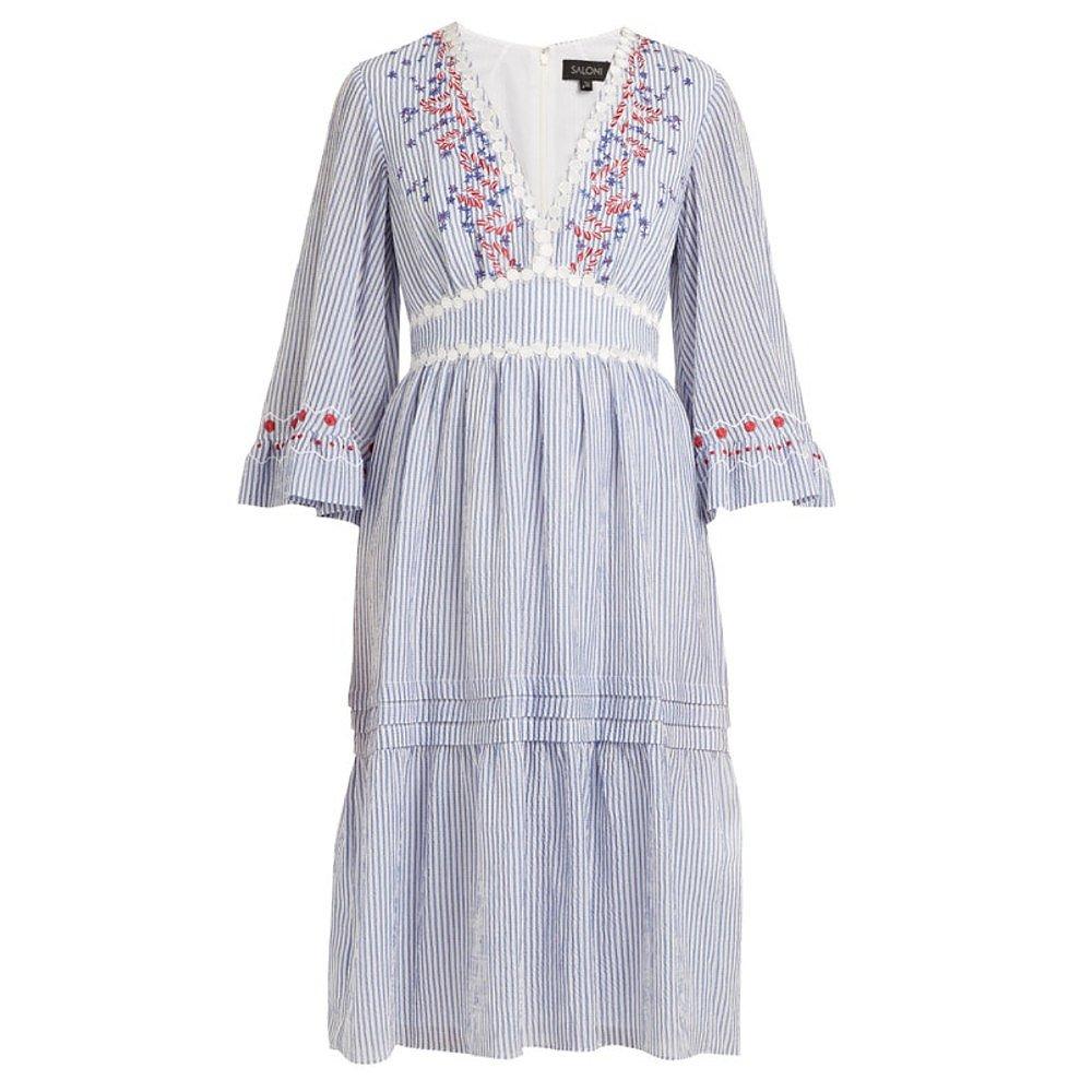 Saloni June Striped Embroidered Midi Dress