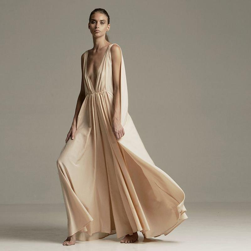 Kalita Clemence Peachskin Maxi Dress