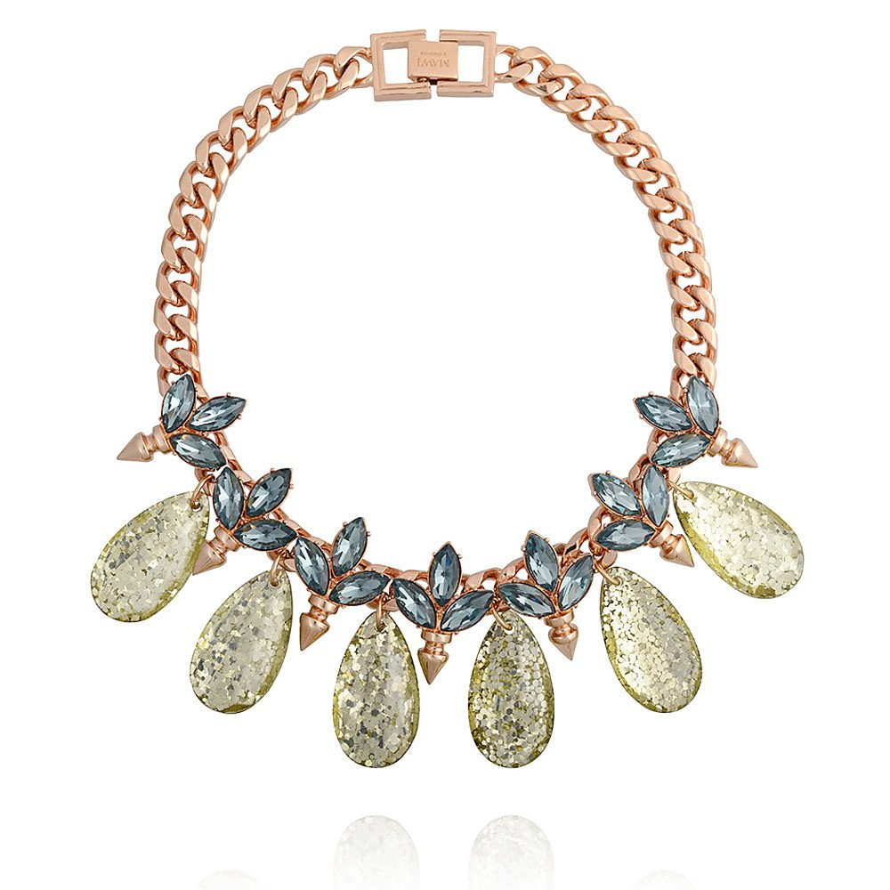 Mawi Spiked Glitter Crystal Leaf Necklace