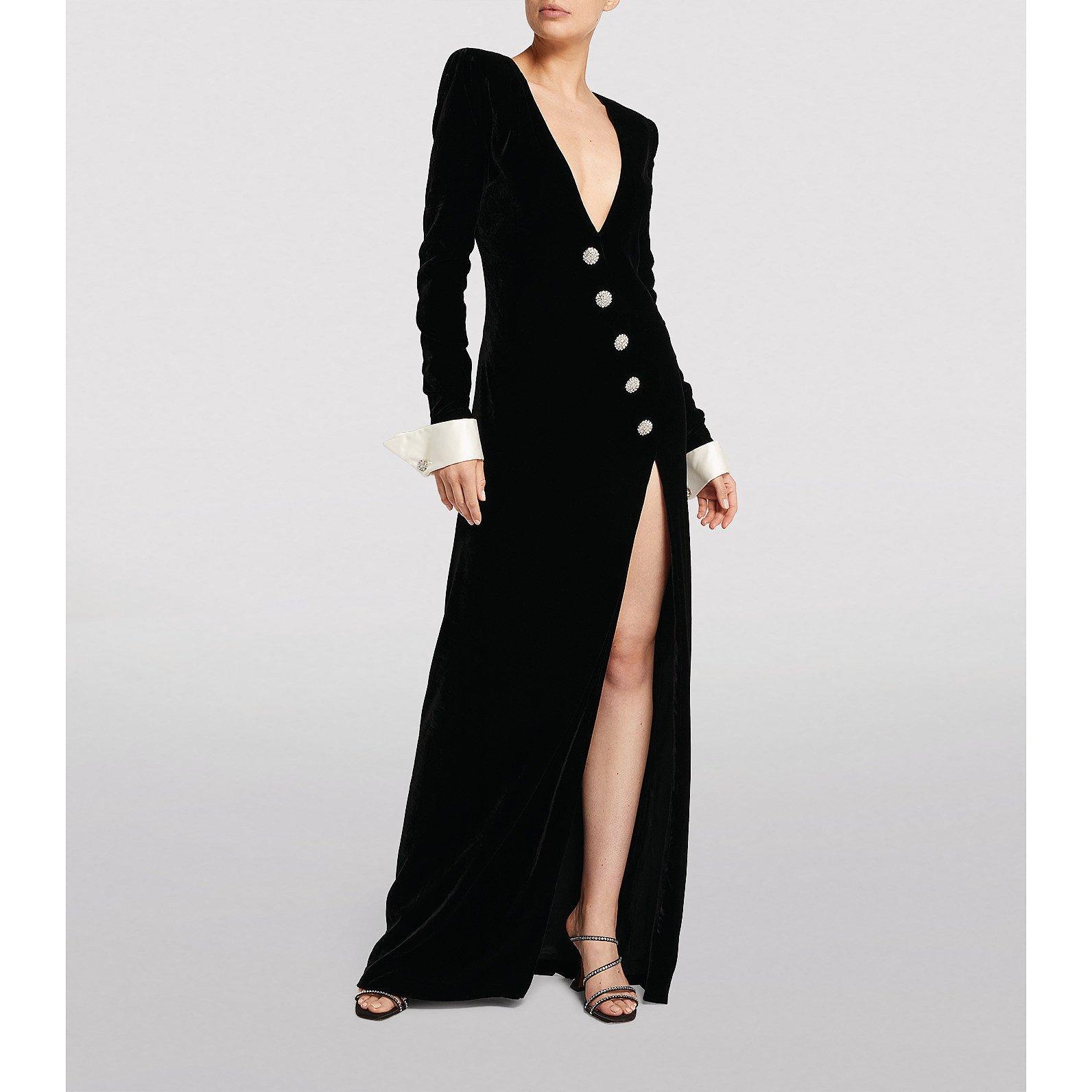 Alessandra Rich Velvet Plunge-Neck Gown