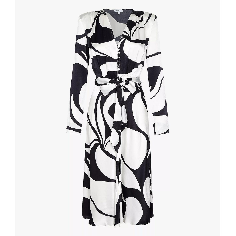 Ghost London Meryl Satin Printed Belted Dress