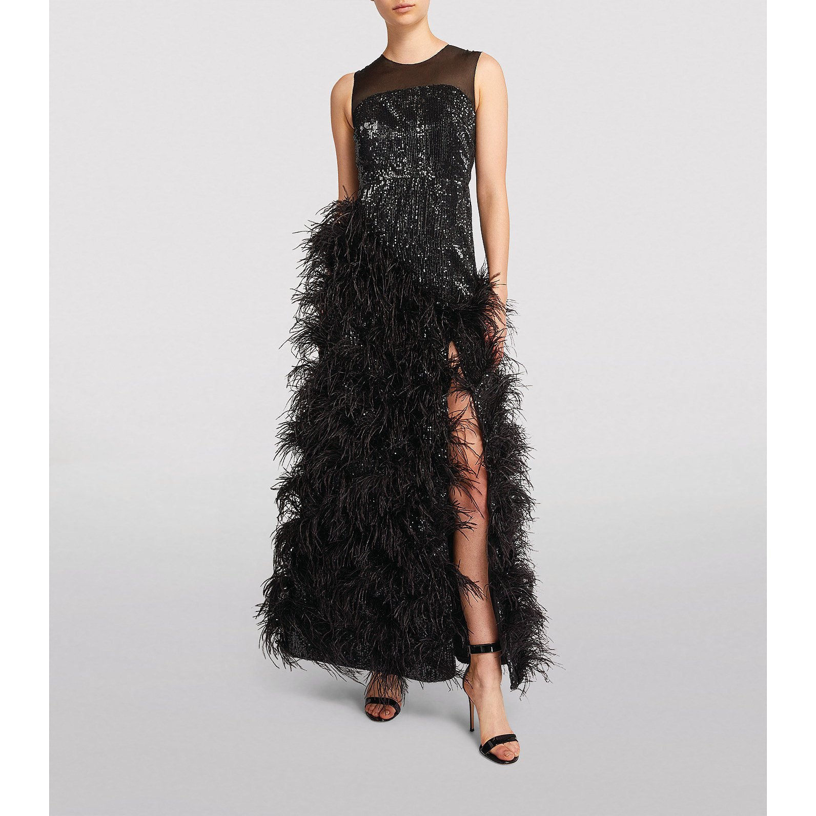 Huishan Zhang Grace Feather-Embellished Gown
