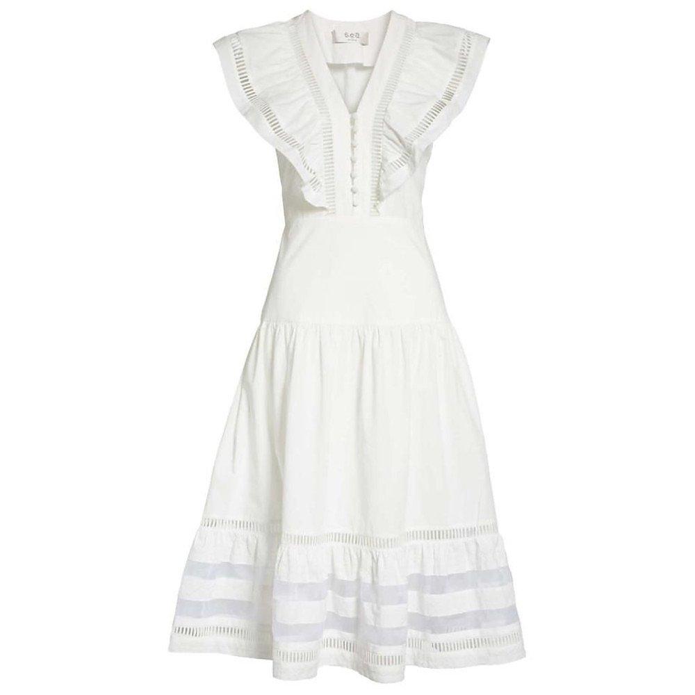 Sea Capri Ladder Stitch-Trim Midi Dress