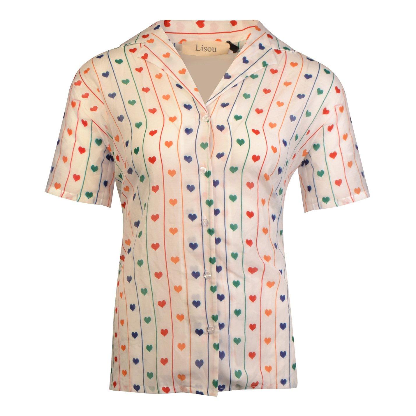 Lisou Victoire Rainbow Hearts Cotton Shirt