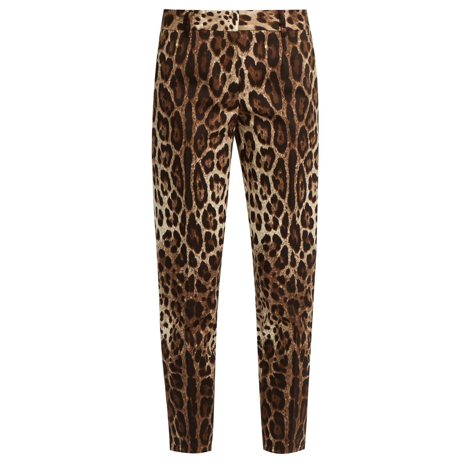 DOLCE & GABBANA Leopard Print Straight-Leg Trousers