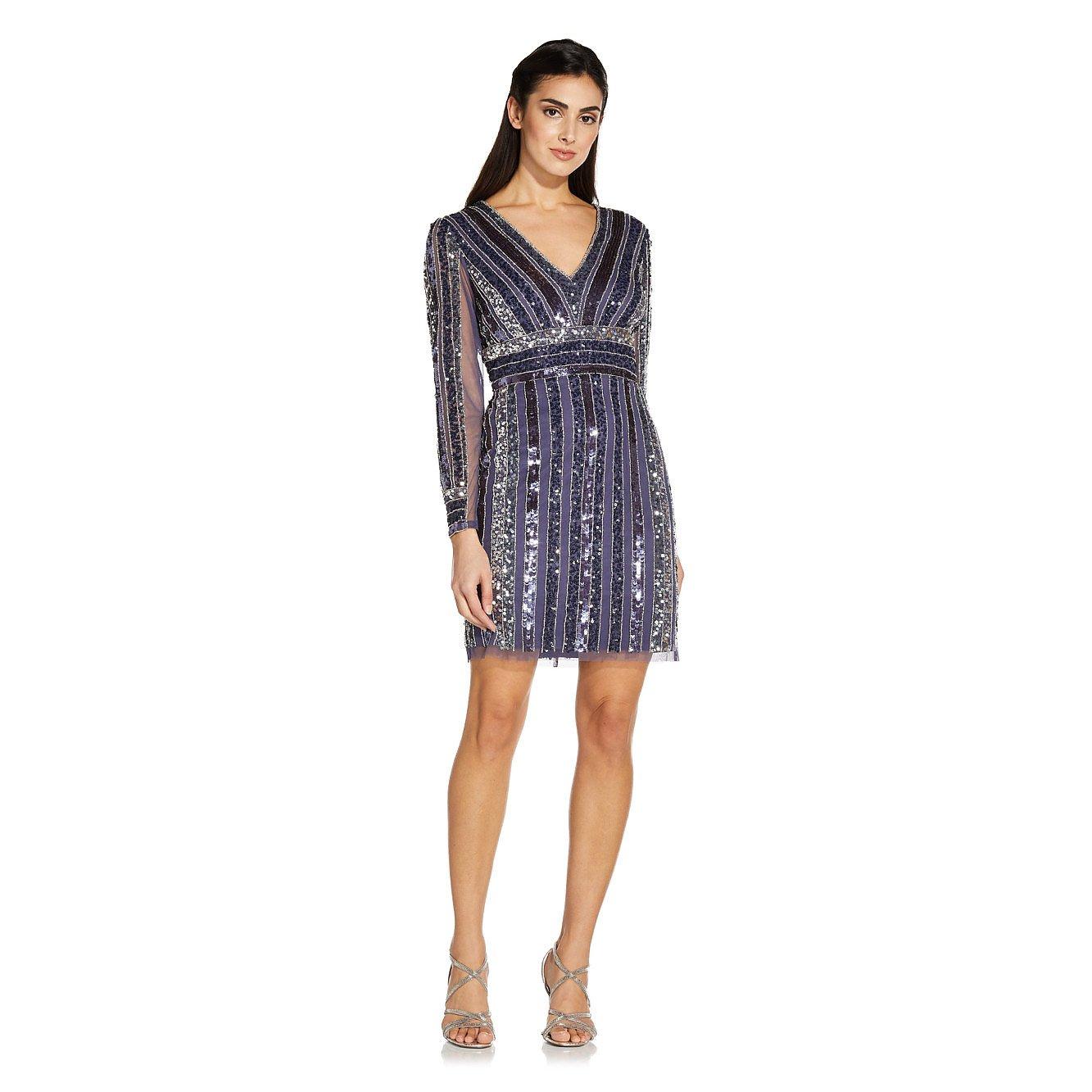 Adrianna Papell Stripe Bead Sheath Dress In Smoky Peri
