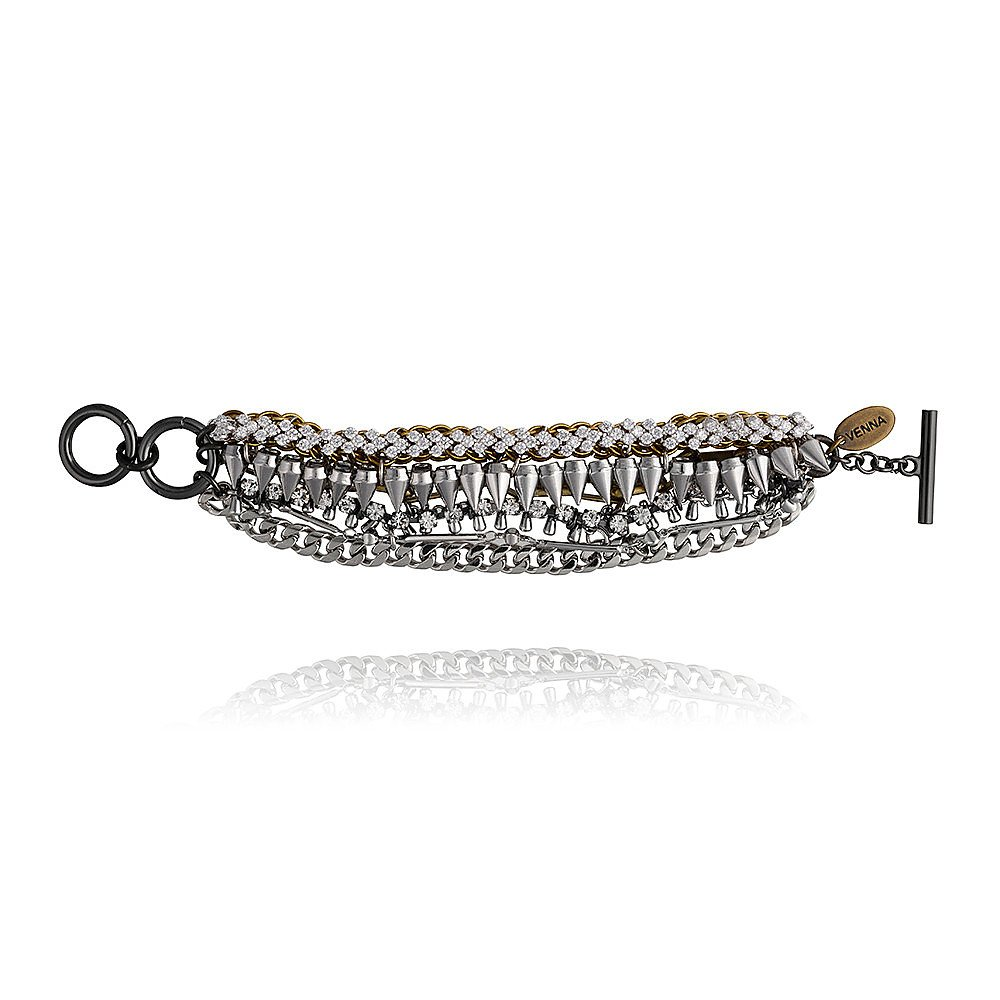 Venna Multi Chain Spike Bracelet