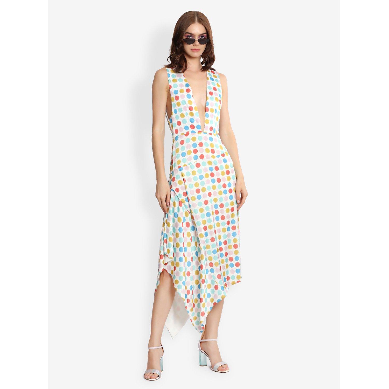 L'Mane Plunging Neck Polka Dot Dress