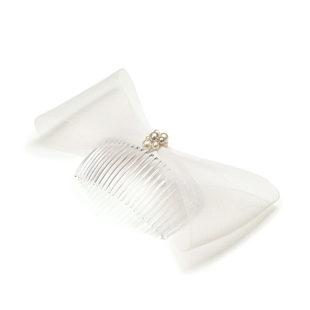 Michel Millinery Crin and Pearl Flat Bow Comb