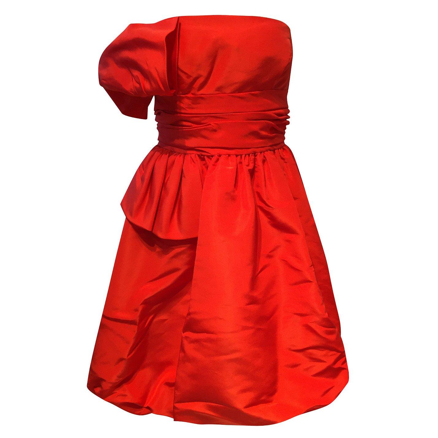 Oscar De La Renta Silk Taffeta Strapless Dress