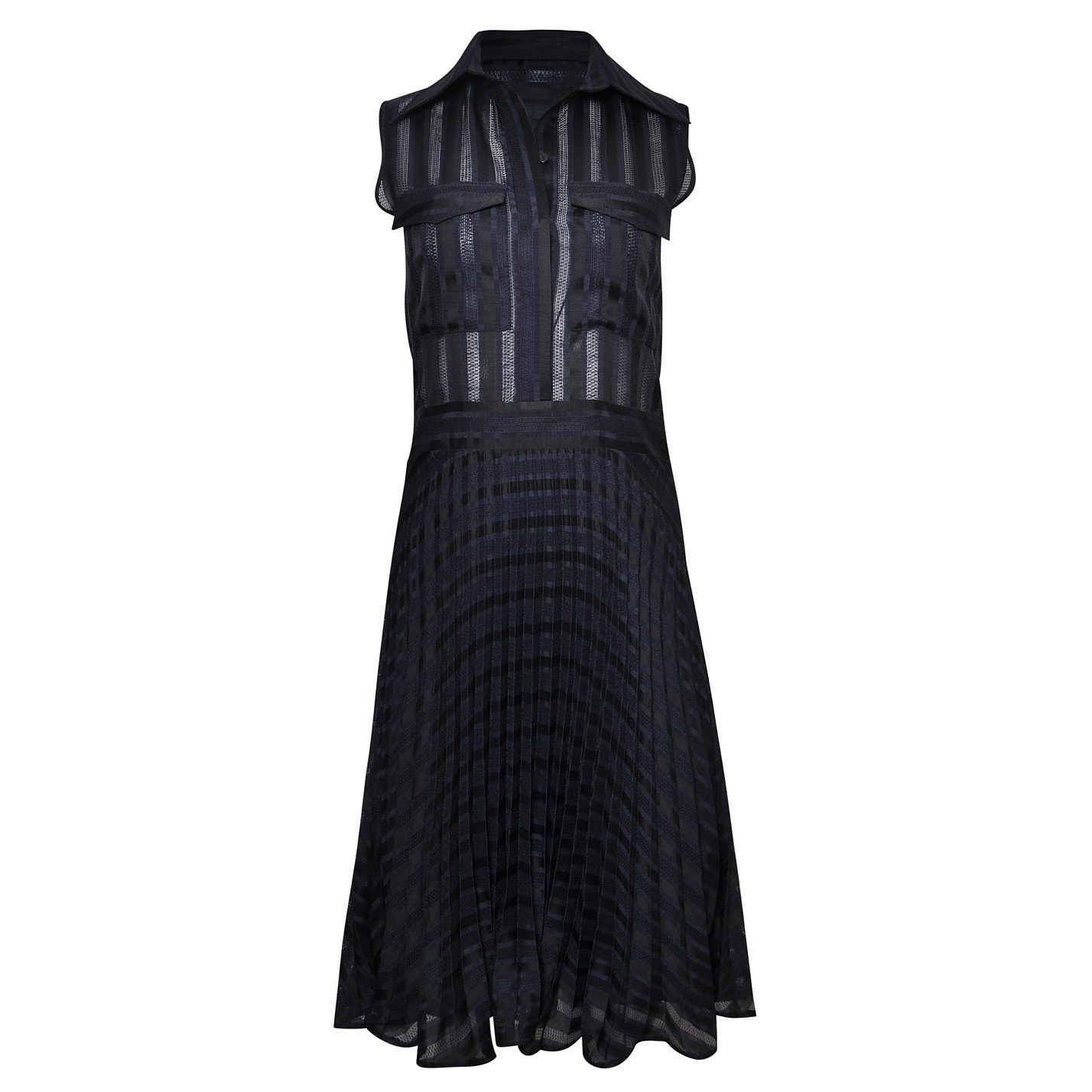 Victoria Beckham Pleated Midi Shirt Dress