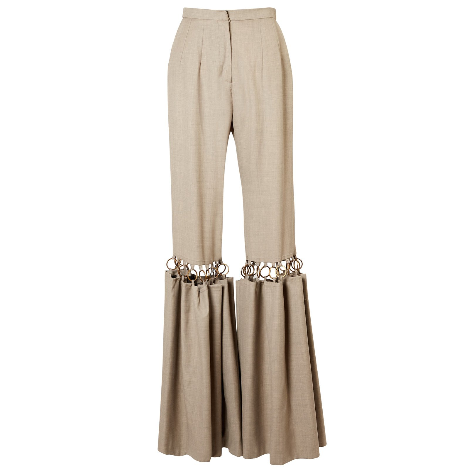 Maison Bent Pleated Trousers With Hardware
