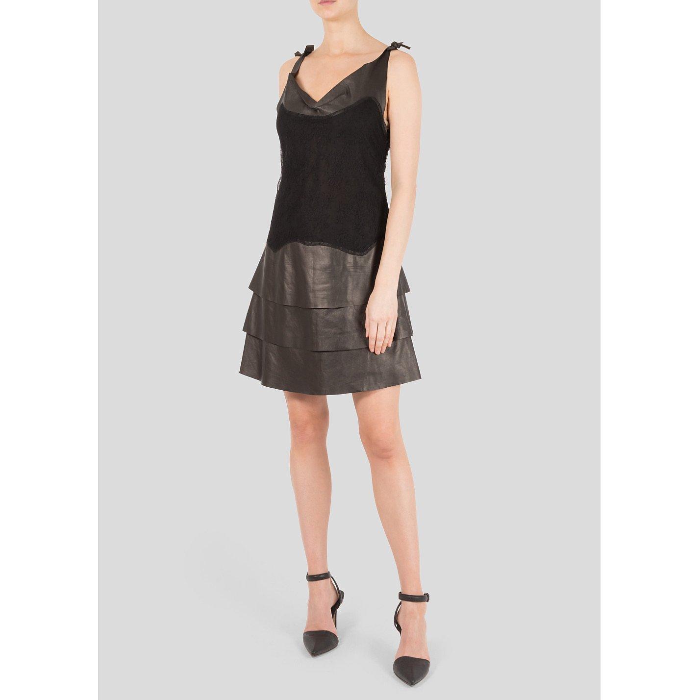 Valentino Leather & Lace Mini Dress