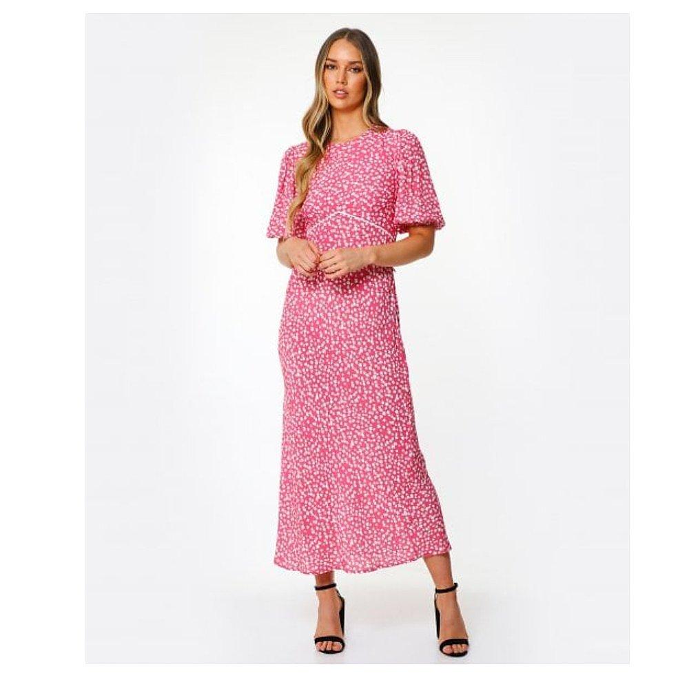 Rixo Delilah Puff-Sleeve Midi Dress
