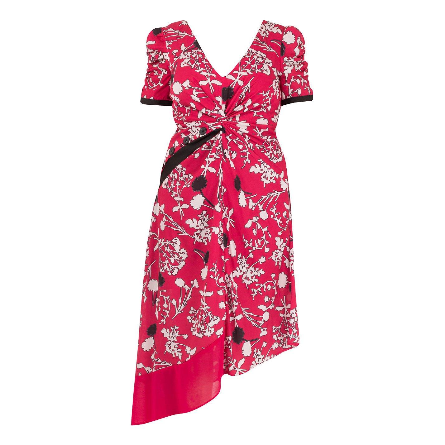 Self-Portrait Asymmetric Floral Print Dress