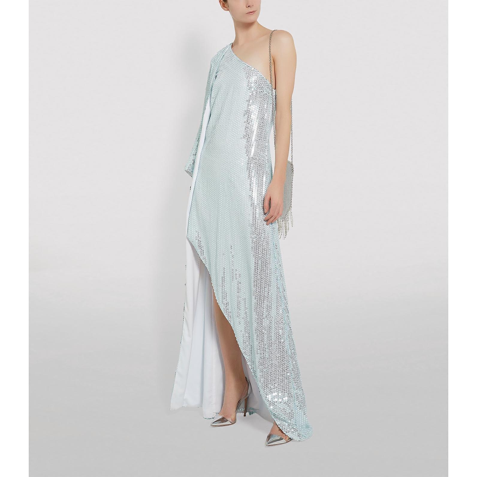 Halpern Asymmetric Sequin Dress