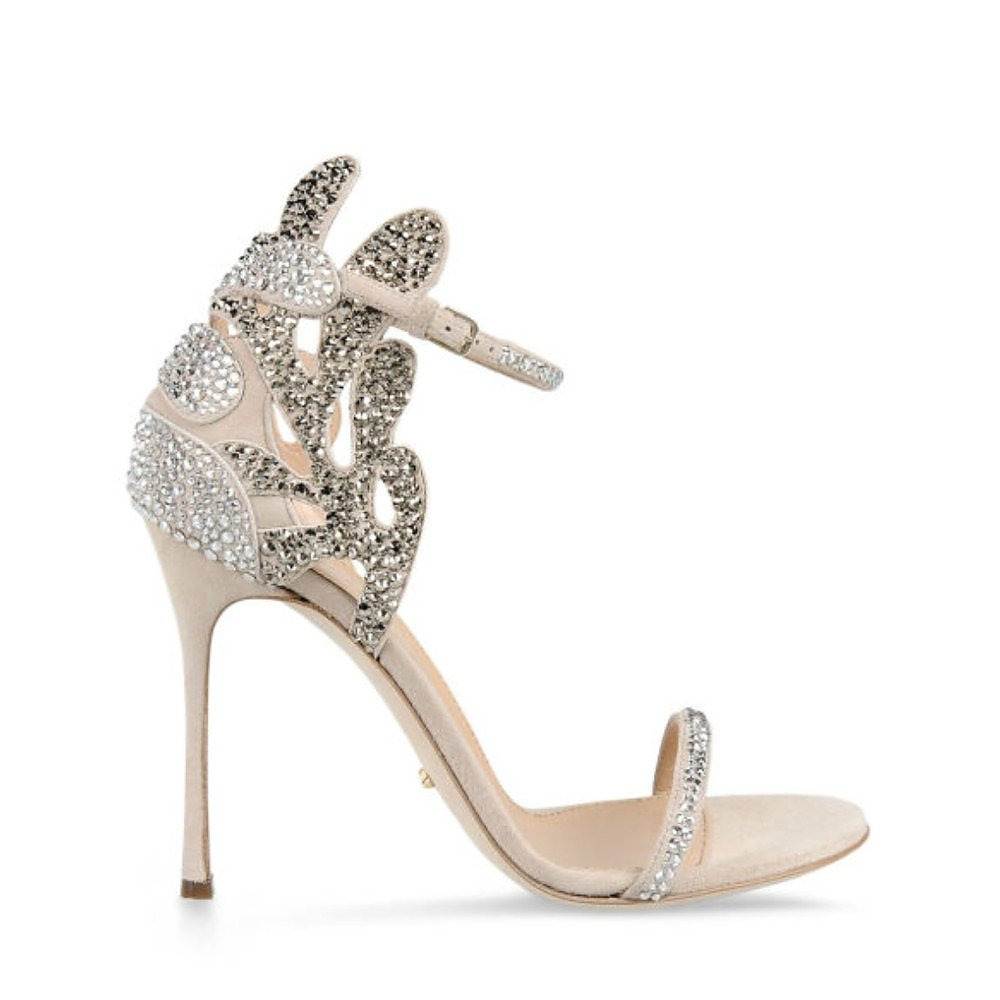 Sergio Rossi Matisse Swarovski Crystal Suede Sandals