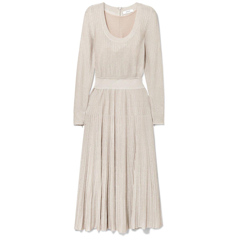 Casasola Metallic Ribbed-Knit Midi Dress