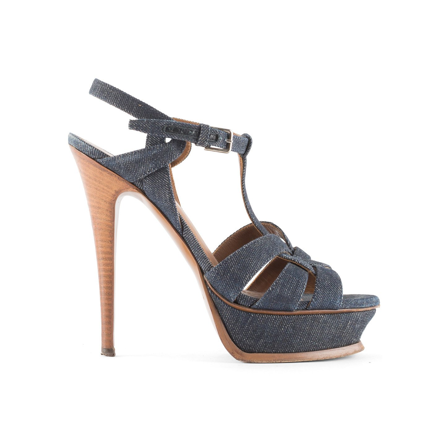 Saint Laurent Denim Tribute Stilettos Sandals