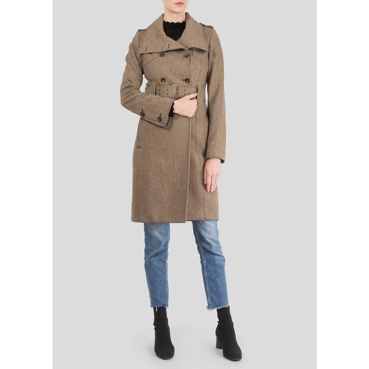 Patrizia Pepe Double Breasted Wool-Blend Coat