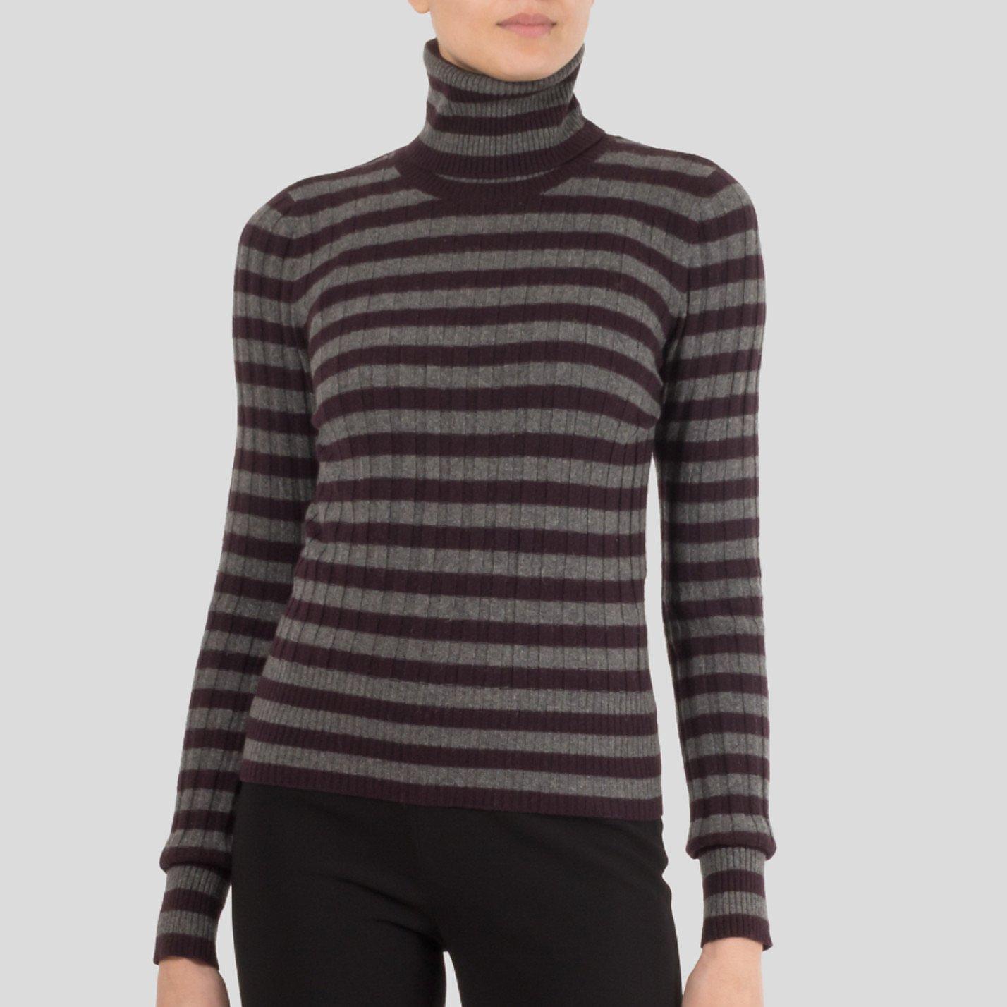 DOLCE & GABBANA Striped Cashmere Turtle Neck Sweater