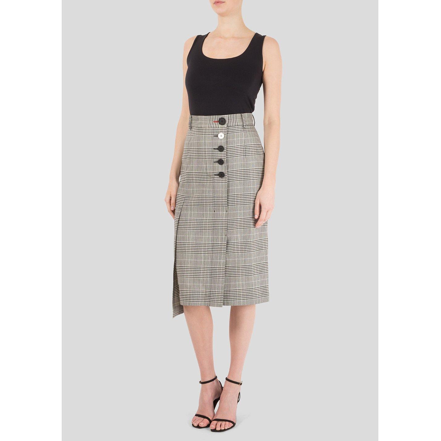 Eudon Choi Asymmetrical Check Pencil Skirt