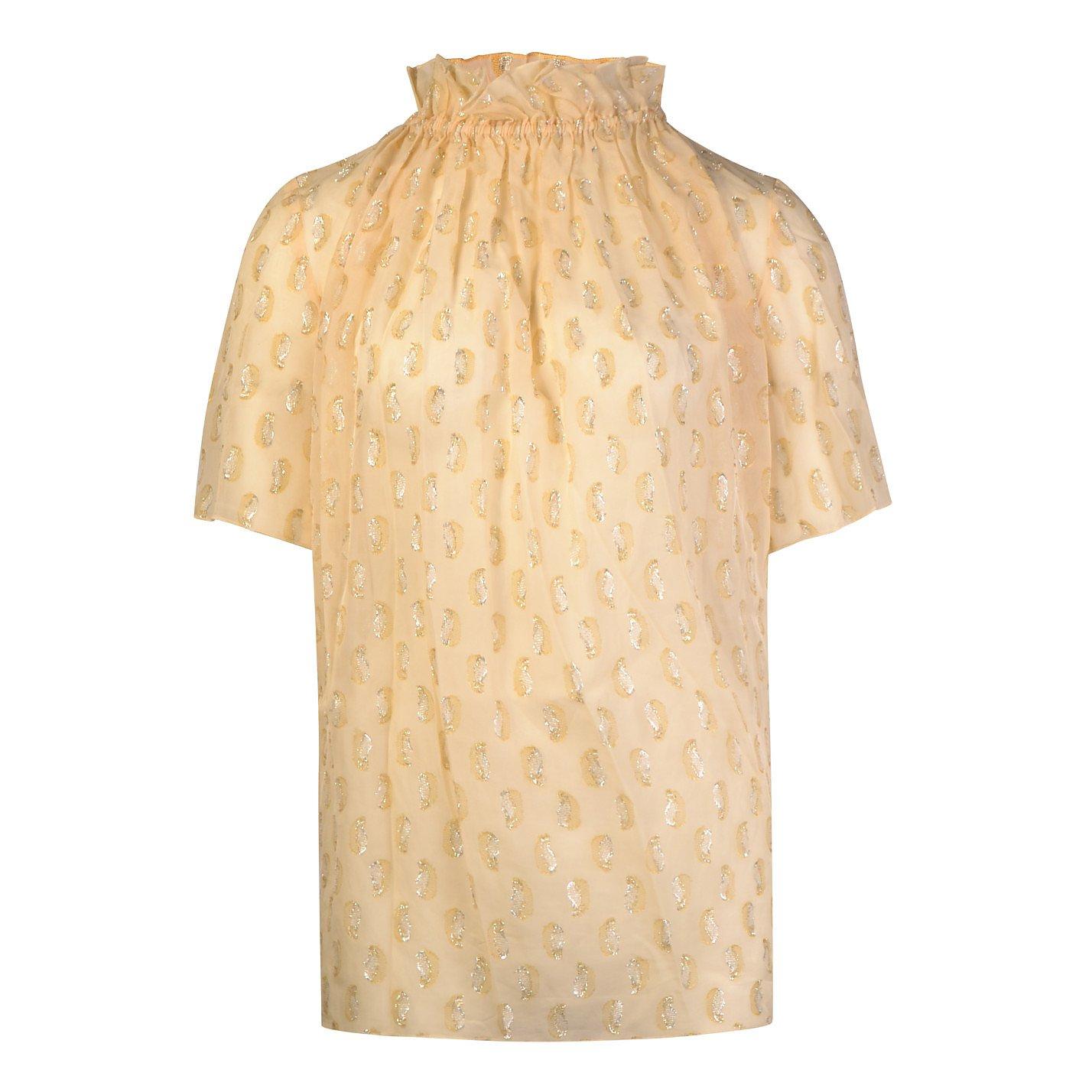 Lovechild 1979 Metallic Fil Coupé Short Sleeve Blouse