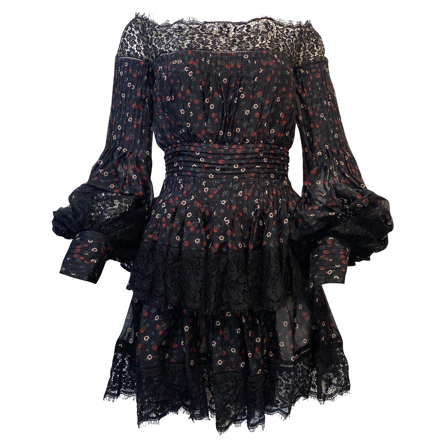 Alexander McQueen Lace-Trimmed Floral Off-The-Shoulder Dress