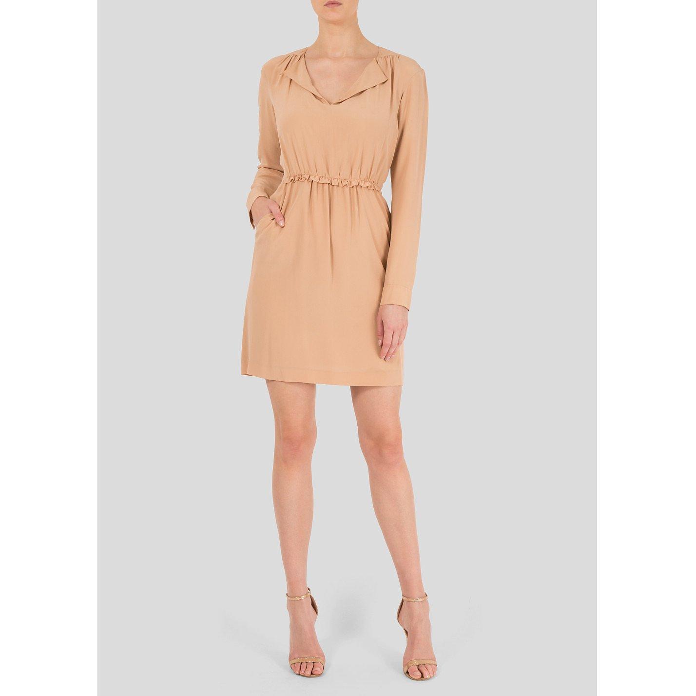 Chloé Long Sleeved Frill-Trimmed Silk Dress