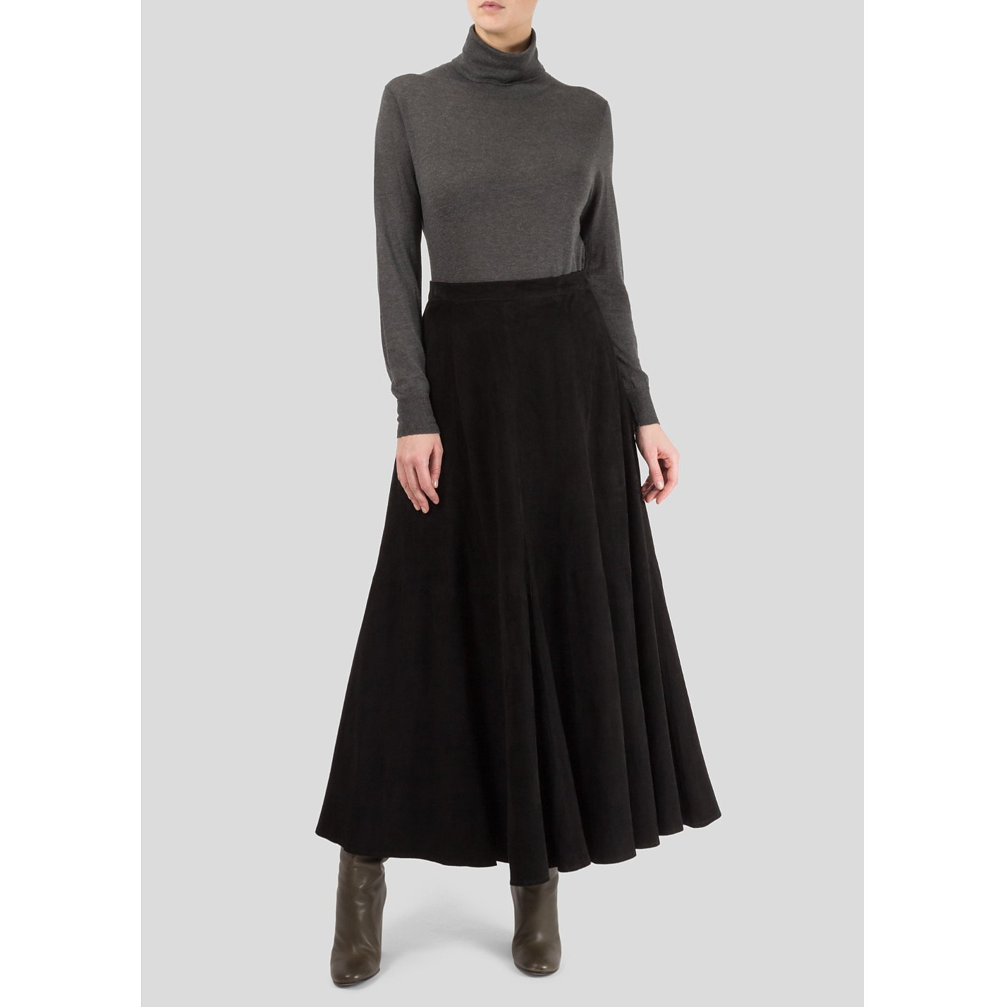 Anna Lascata Flared Suede Skirt
