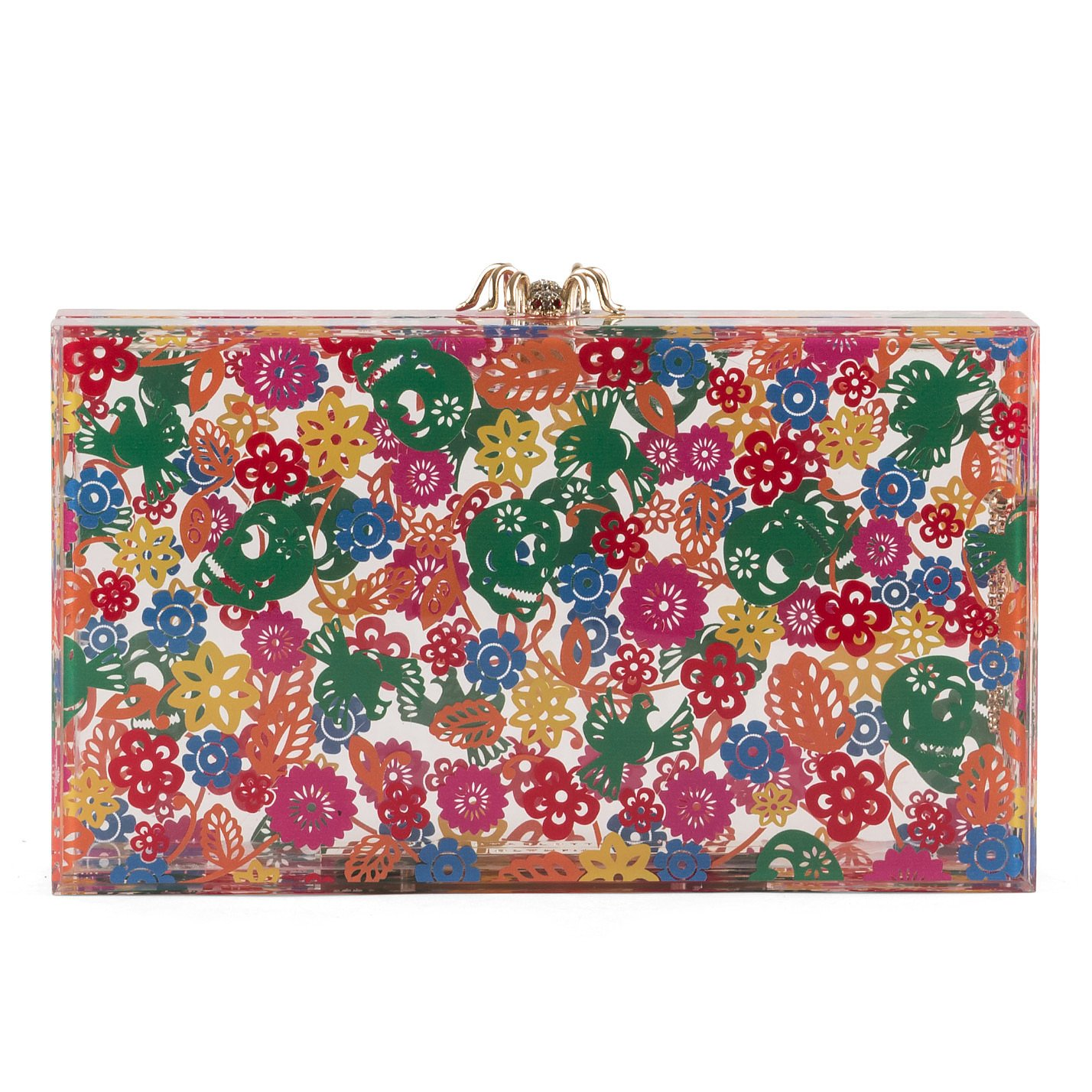 Charlotte Olympia Printed Spider-Clasp Perspex Clutch