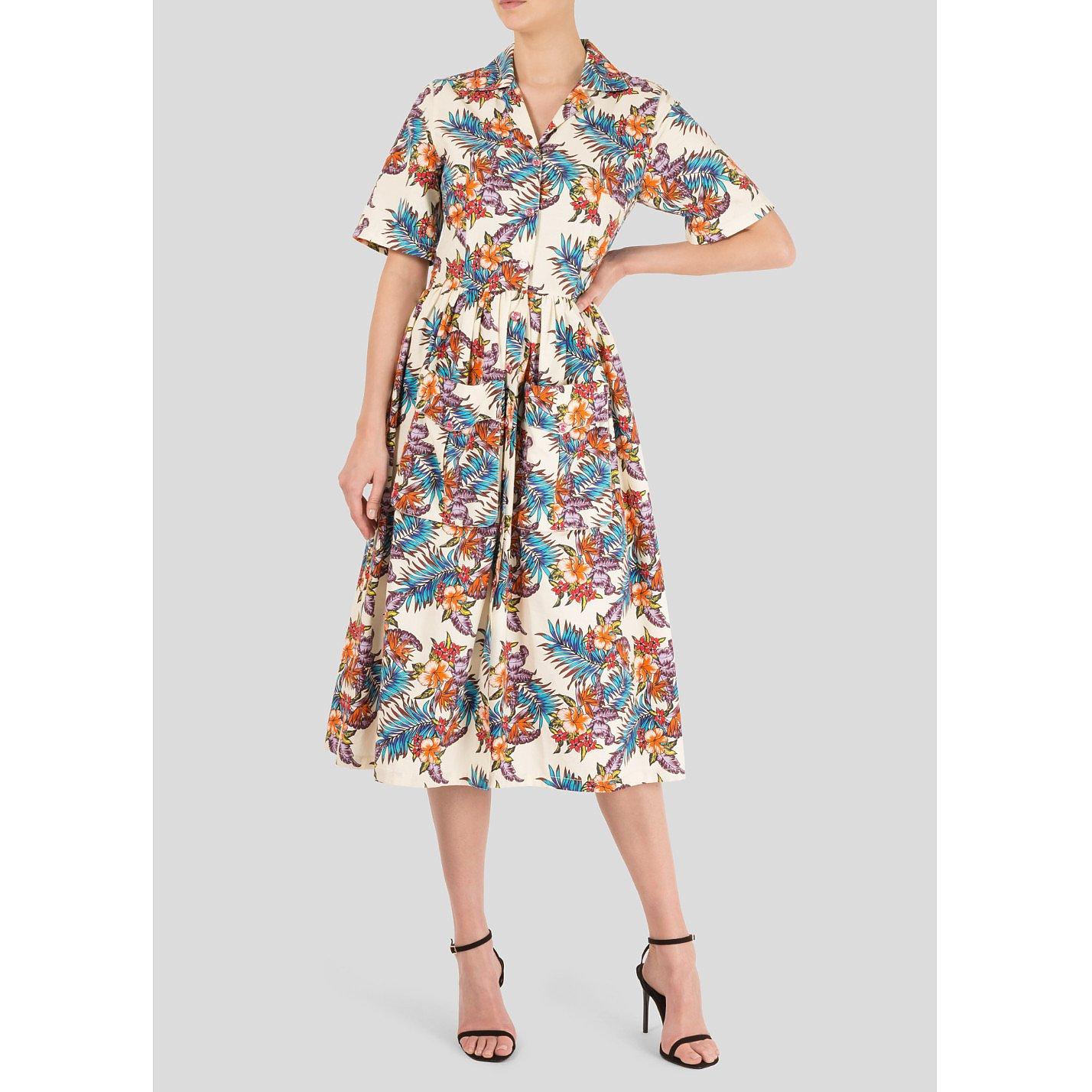 House of Holland Printed Slub Cotton Midi Dress