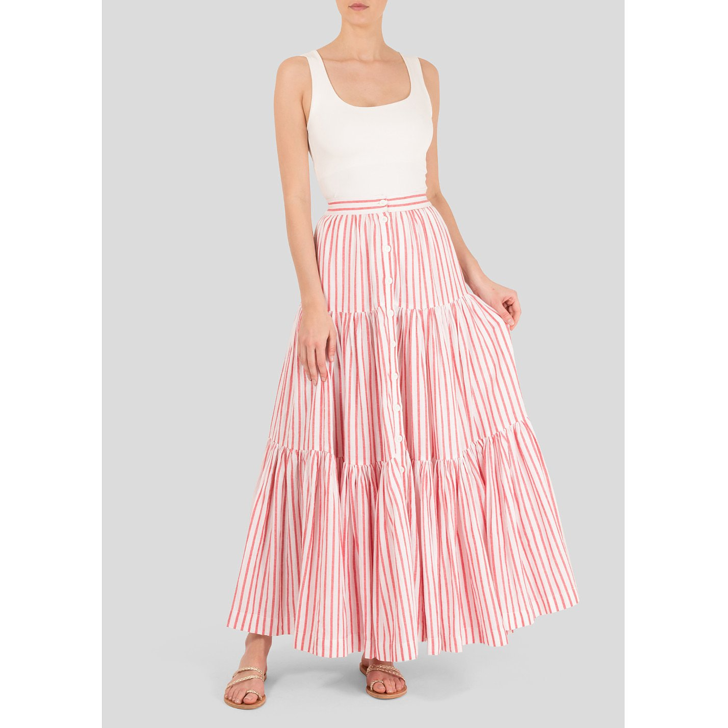 Wiggy Kit Striped Tiered Maxi Skirt